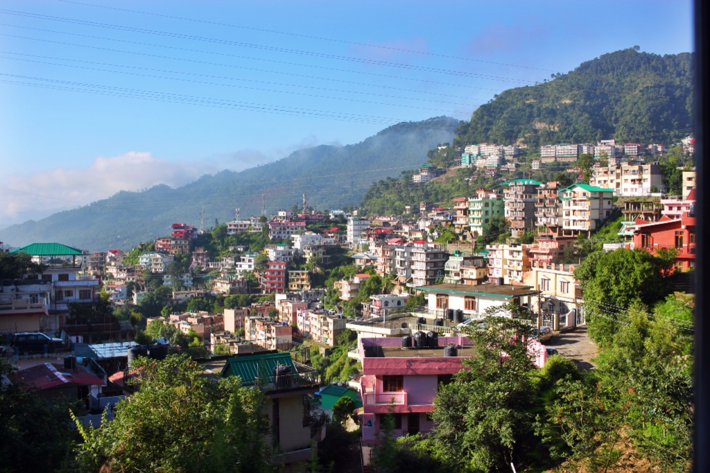 Himalayan town seen from toy train to Shimla.