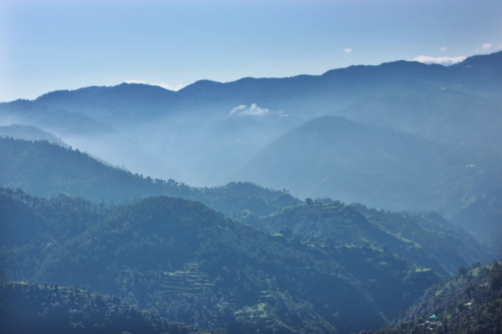 Misty mountains in the morning. Himalayan Mountains between Kalka and Shimla.