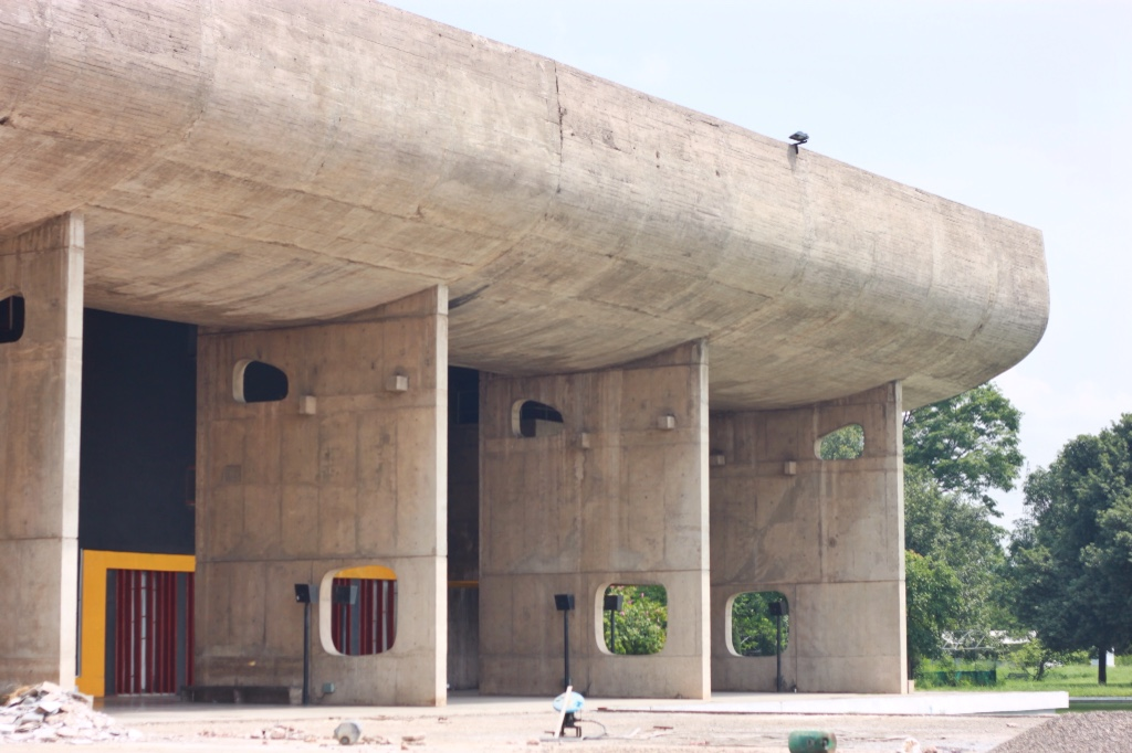 Le Corbusier's Assembly Hall in Chandigarh, India. They are repairing for UNESCO review.