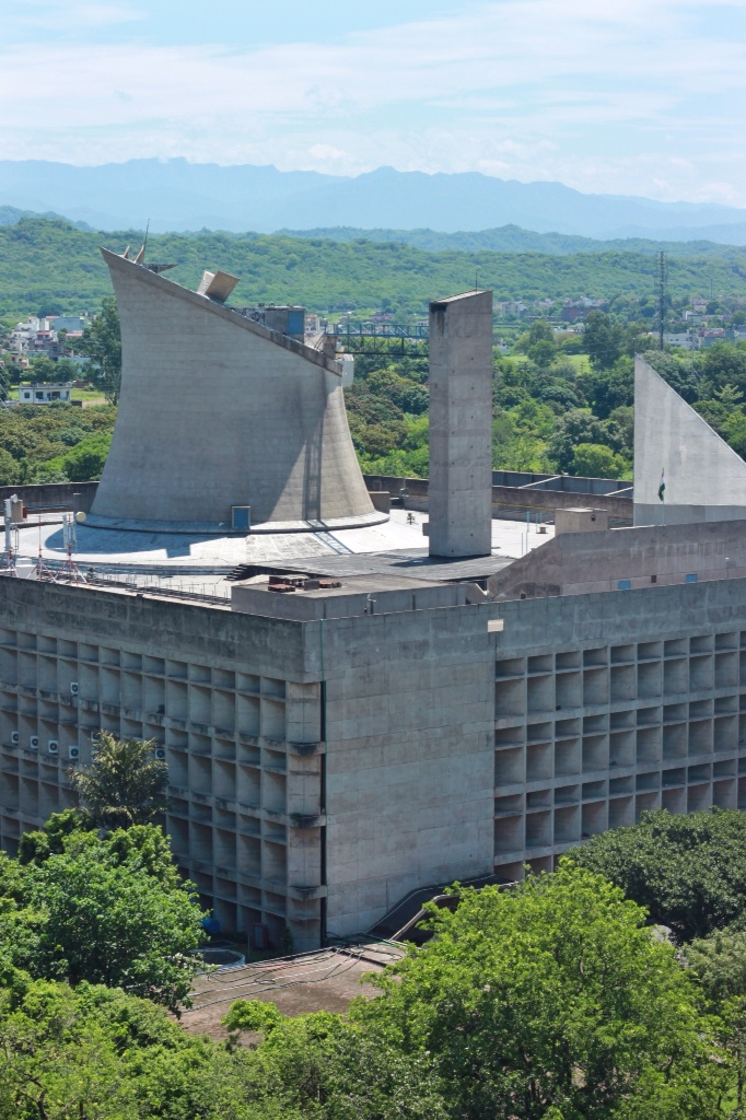 Le Corbusier's Assembly Hall in Chandigarh, India seen from The Secretariat.