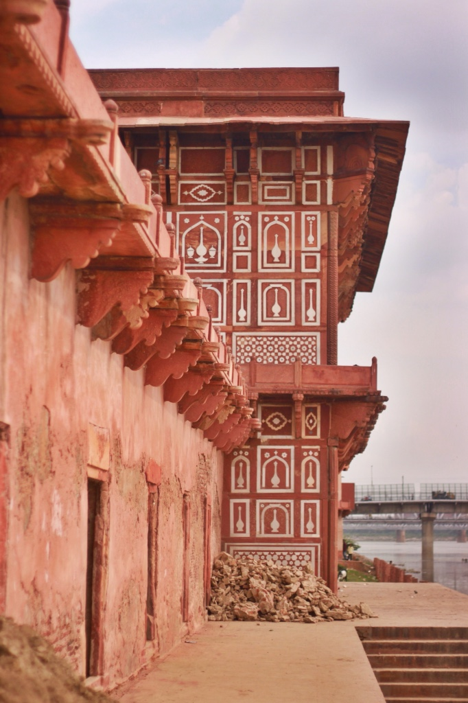 inlay in red sandstone at Daulah in Agra, India