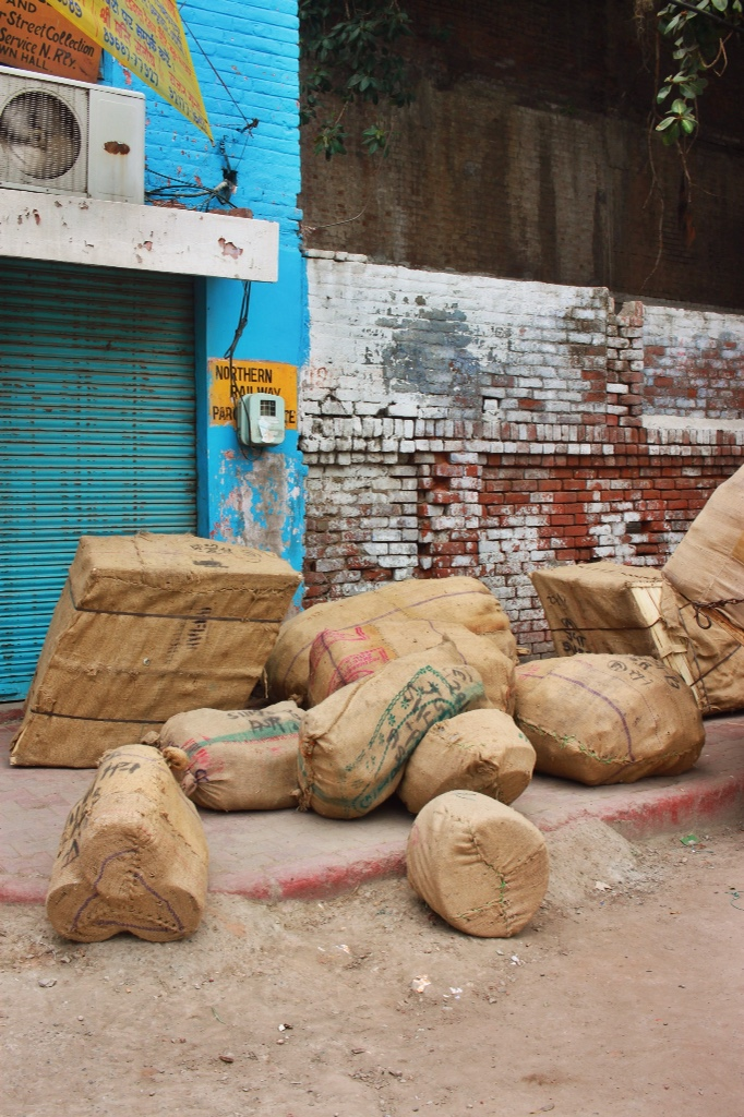 burlap sacks falling over each other in Amritsar, India