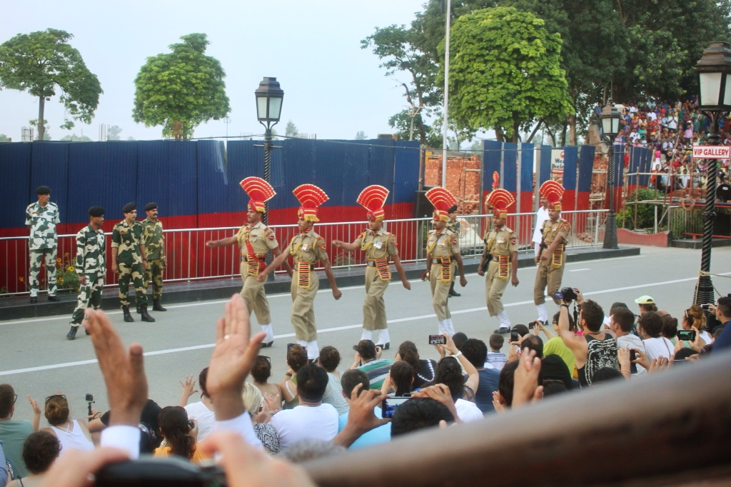 Indian guards perform at border closing ceremony