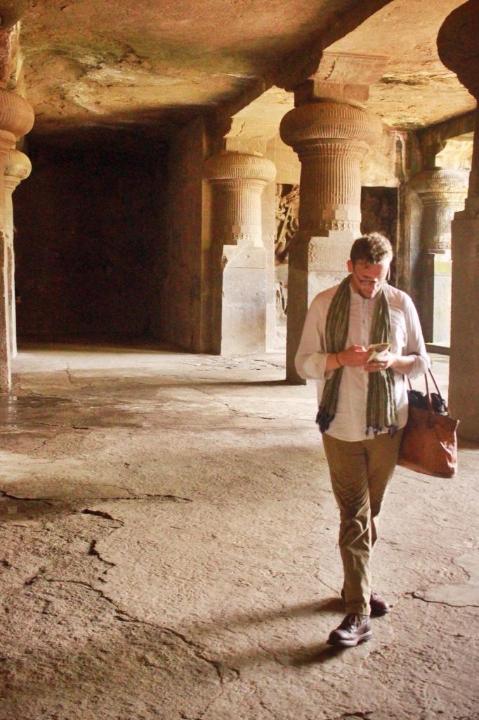 Alexander walking through Elephanta Caves Mumbai, India