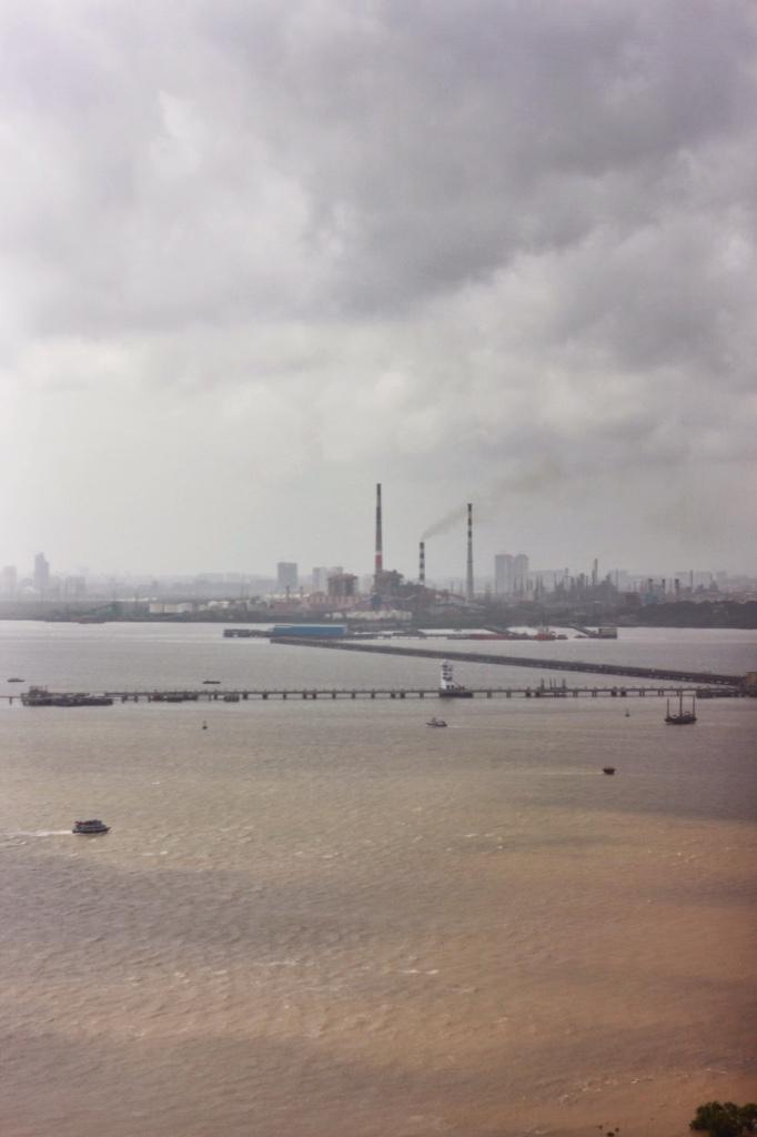view of Mumbai, India from Elephanta Caves