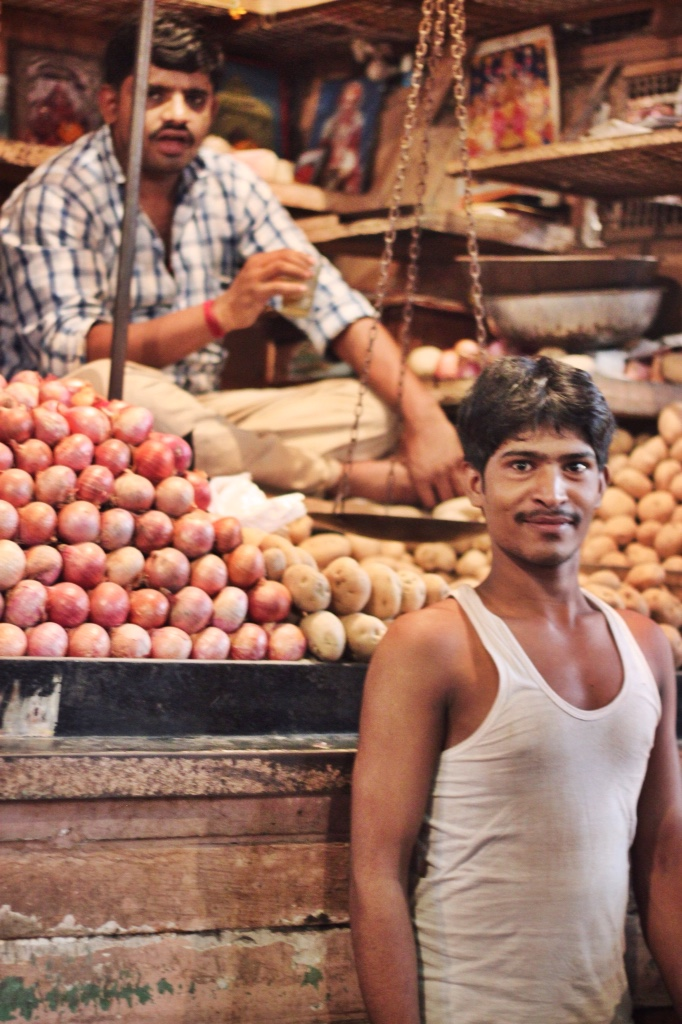 Mumbai market potatoes, onions, smiles