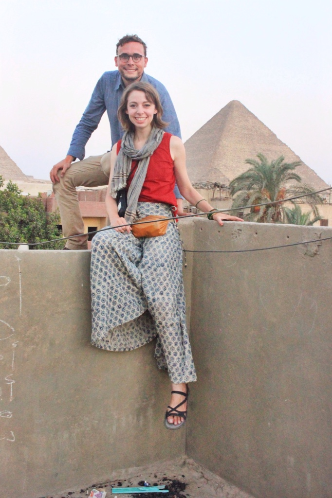 Me and Alex on a rooftop in Giza overlooking the Pyramids.