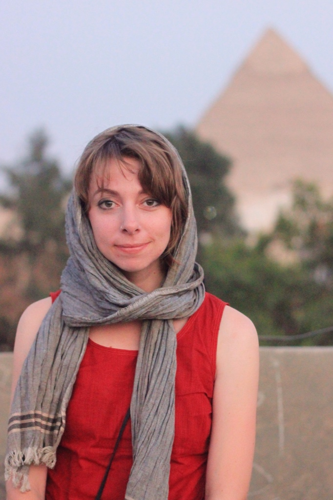 Portrait of me in front of the Pyramids of Giza.