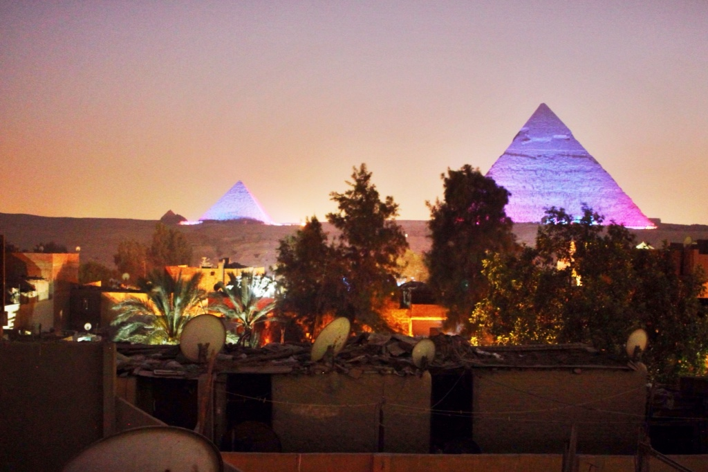 Light show on the Pyramids of Giza.