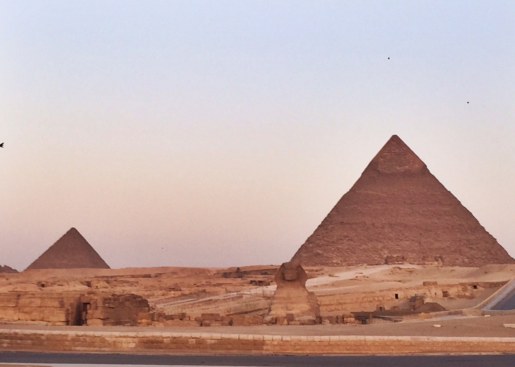 Pyramids of Giza and the Sphinx.